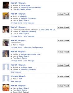 Facebook and Manish Hirapara